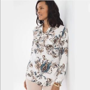 NWT CHICO'S Botanical Lace Up Tunic 0 Small $89.50